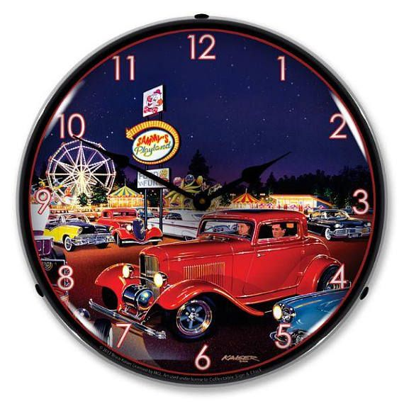 Antique Style Sammys Playland Led Lighted Etsy Wall Clock Wall Clock Light Vintage Clock