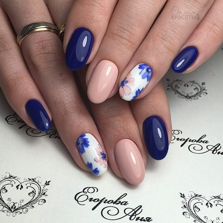 Beige dress nails, Blue and beige nails, flower nail art, May nails, Nail polish for blue dress, Oval nails, ring finger nails, Spring designs for nails