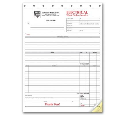 Order Electrical Work Orders  6574  at Printez com  Receive free company logo and free shipping on Electrical Forms and all Business Forms  Use promo code 18950