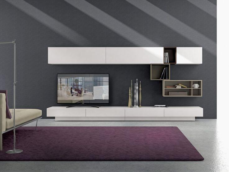 Parete attrezzata componibile fissata a muro in legno con porta tv I-modulART_20 - 325 by Presotto Industrie Mobili design Pierangelo Sciuto
