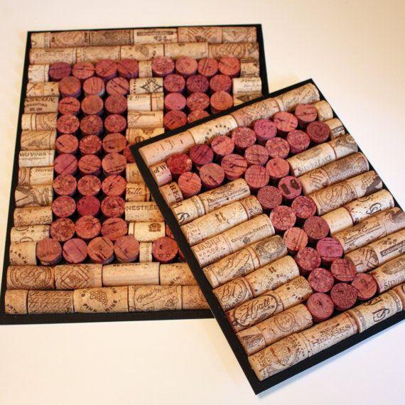 CUSTOM order for Ashley - Monogram Wine Cork Wall Art - NO FRAME