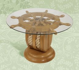 Buy Deluxe Shipu0027s Wheel Coffee Table With Pulley Base,
