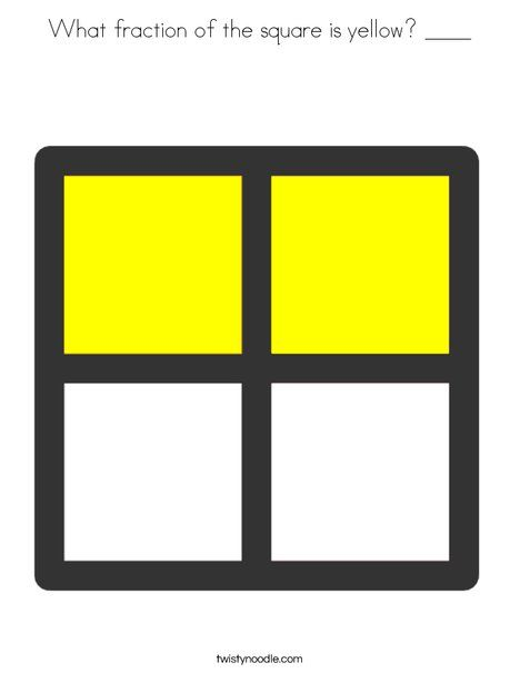 What fraction of the square is yellow ____ Coloring Page - Twisty Noodle