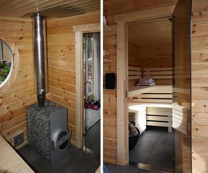 familie k rfkes saunahaus mit dachbegr nung und holzofen so und and ist. Black Bedroom Furniture Sets. Home Design Ideas