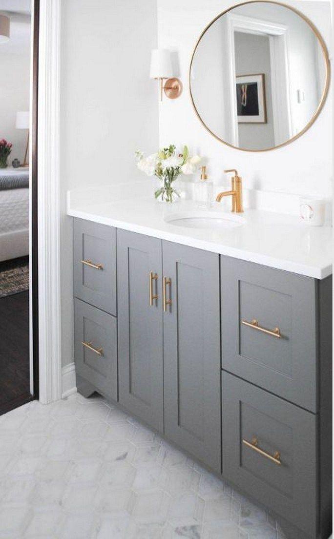 72 Good Bathroom Mirror Ideas To Reflect Your Style Bathroommirror Bathroomremodel Bathroomideas Bathrooms Remodel Bathroom Interior Round Mirror Bathroom Gray and gold bathroom decor
