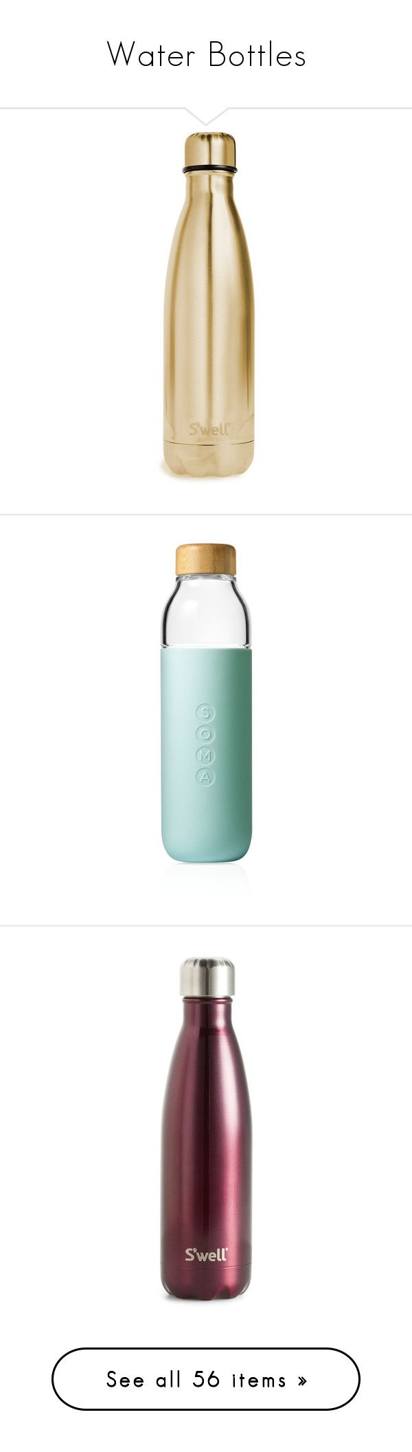 """""""Water Bottles"""" by stacy-hardy ❤ liked on Polyvore featuring home, kitchen & dining, fillers, accessories, food and drink, drinks, yellow gold, serveware, mint and soma water bottle"""