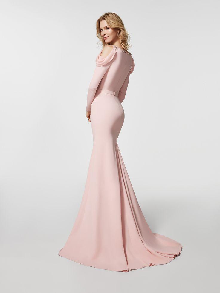 Imagen del vestido de fiesta rosa pálido (62063). Vestido GROVE largo manga larga