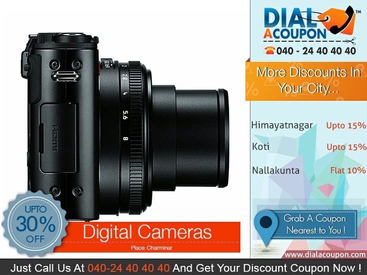 Capture Your Special Moments And Save It Forever With An Amazing Range Of Digital Cameras.  And With Dial A Coupon Get The Best Deal On Digital Cameras Call Dial A Coupon @040 24 40 40 40 And Get Your Discount Coupon Now.  For More Discount Deals Please Visit: www.DialACoupon.com