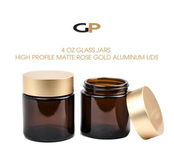 33a0d1f3f286 3 LUXURY MATTE ROSE GoLD Caps on Amber Glass 4 Oz Empty Cosmetic ...