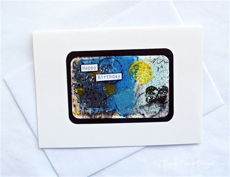 Blue and lemon yellow mixed media unique blank greeting card - Happy Birthday. For more cards, click here: www.madeit.com.au/TupsyTurvy