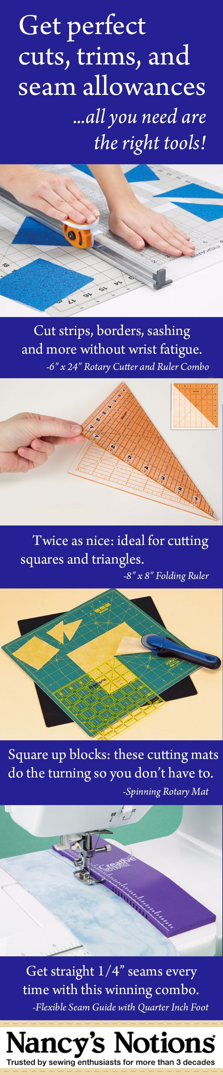 Get perfect cuts, trims, and seam allowances with the right tools - Rotary Cutter and Ruler Combo - Fiskars Folding Ruler - Spinning Rotary Mat - Flexible Seam Guide with Quarter Inch Foot - Nancy's Notions - Sewing and quilting