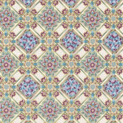 SRKM-17052-200 Villa Vintage Geometric Floral Multi With glimpses of fine Romana Villas this fabric range takes us back to a time when beautiful tiled and mosaic buildings were seen in the upper echelons of society. From Robert Kaufman Studios the glazed tile effects mixed with vintage floral bring history to life. We have selected beautiful mosaics with multiple colours, greys, creams and mauves to provide a great selection for you next quilting project. In the traditional Robert Kaufman…
