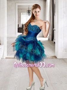 Affordable Beading and Ruffles Multi-color Dama Dress For 2015