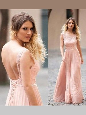 A-Line Scoop Applique Floor-Length Chiffon Formal Gown - Prom Dresses - AdoringDress