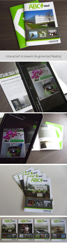 Interactief drukwerk, het personeelsblad van Certhon is voor zien van Augmented Reality. Scan met je smartphone de pagina's en ontdek de virtuele toevoegingen. | Ontwerp Mangoa