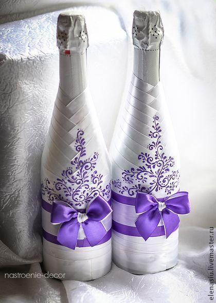 Оформление 2-х бутылок шампанского на свадьбу с росписью - сиреневый,сиреневая свадьба