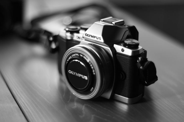 Grayscale Photo of Black and Gray Olympus Camera  Free Stock Photo