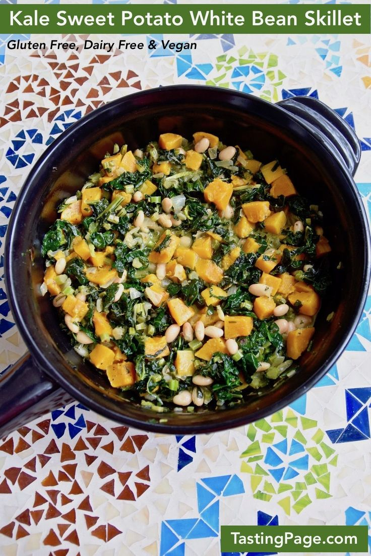 Kale Sweet Potato White Bean Skillet - an easy one pot gluten free and vegan, healthy meal | TastingPage.com