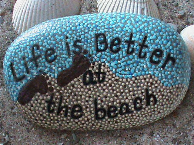 Painted Stones/Beach Decor/Nautical/Life is Better/Coastal Decor/Painted Rocks/Art on Stone. $14.99, via Etsy.