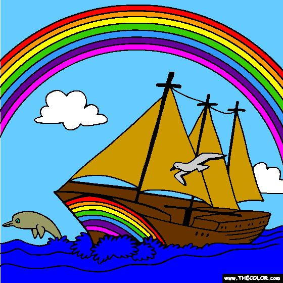 Rainbow and Sailboat Online Coloring Page