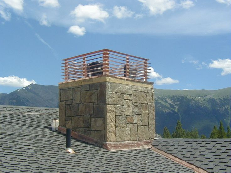 'Venetian' chimney crown in copper atop a matching copper chase pan from Chimney King. This beauty gets to perch nest to a ski slope on Copper Mountain. UL listed and labeled for Heatilator. Rio Grande Co, Denver - Kevin Kraich.
