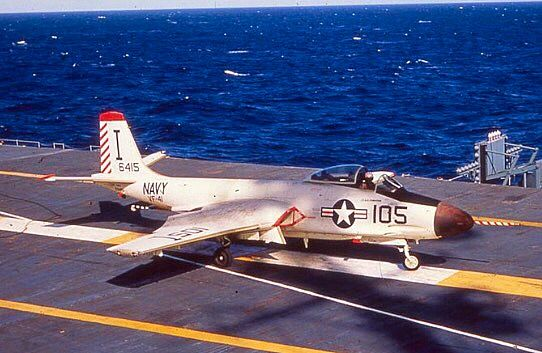 "A Navy McDonnell F2H-3 Banshee of VF-41 ""Black Aces"" on the USS Bennington (CVS-20) during 1956."