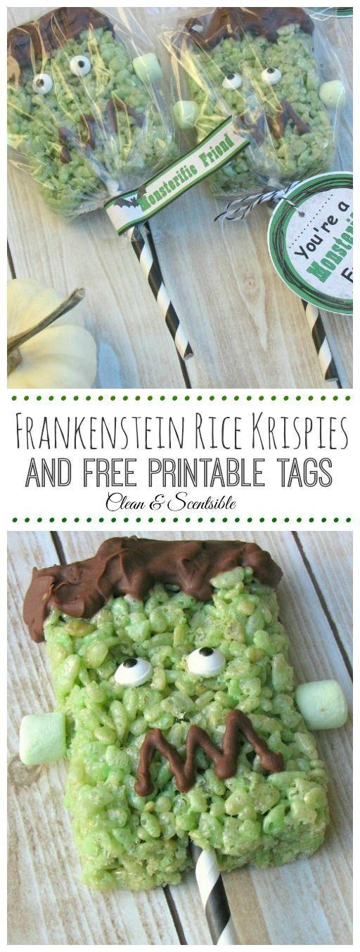 Cute Frankenstein Rice Krispie Pops with Free Printable. // cleanandscentsible.com: