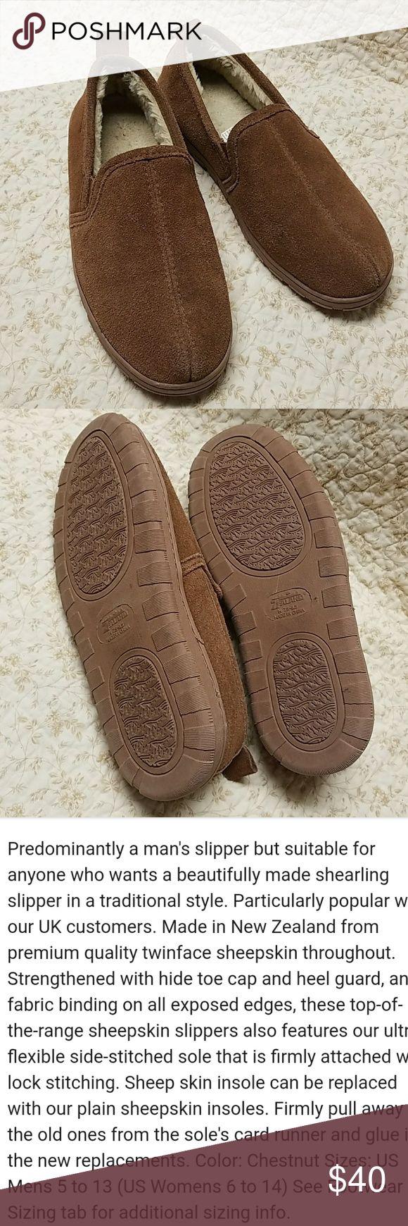 Zealand sheepskin mens slippers, sz 7.5-8.5, brown Zealand sheepskin mens slippers, size 7.5-8.5, brown, gently worn...very nice. Zealand  Shoes Slippers