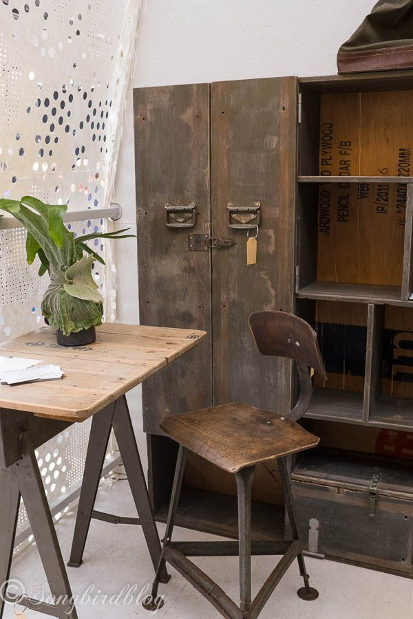 """design trend: rustic industrial furniture. Love that old locker. Image captured at  the """"Woonbeurs Amsterdam"""" a residential living event"""