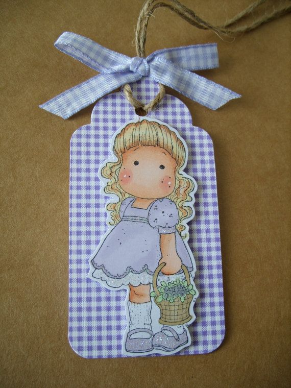 Gift Tag Magnolia Tilda Lilac by AuntyJoanCrafts on Etsy, £1.50