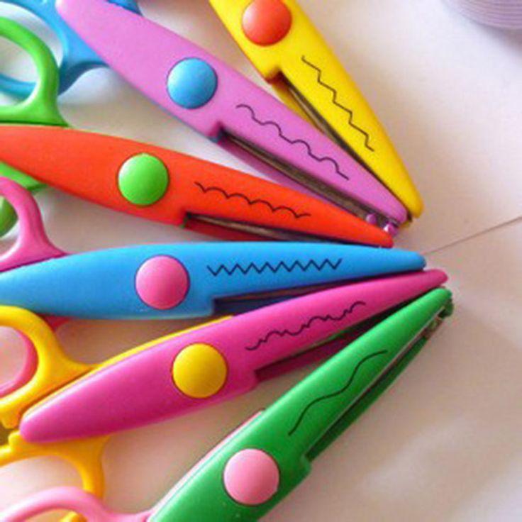 Plástico DIY Artesanía Decorativa Enfant Tijeras Escolares para el Cortador De Papel Scrapbooking corea Papelería gratuito 040