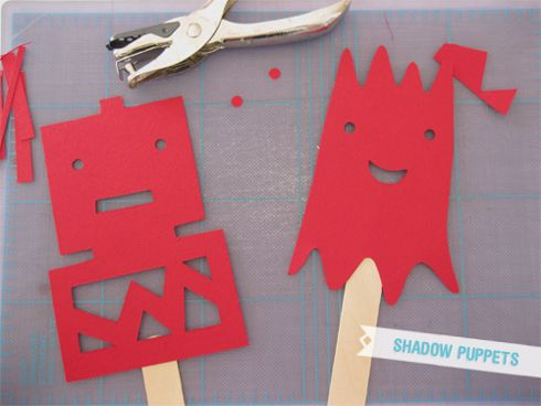 shadow puppets: built out of cardstock + popsicle sticks / via ambrosia girl
