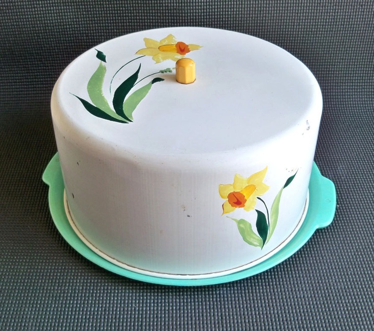 MidCentury HandPainted Covered Cake Server Cake by leapinglemming