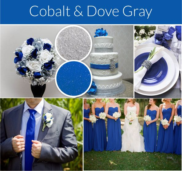 Cobalt blue and gray wedding theme. Compare to David's Bridal horizon