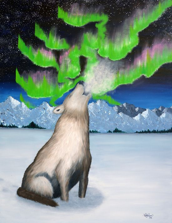 """★ """"ARCTIC HOWL"""" - a piece from the """"Nordic Impressions"""" collection.  FROM $23 - NOW AVAILABLE AT: ★ http://society6.com/ms_thomassen/prints ★   mountains/ nature/ wildlife/ abstract/ blue/ Nordic/ Scandinavian/ interior/ design/art/ oil painting/ illustration/ frame @MS_THOMASSEN"""