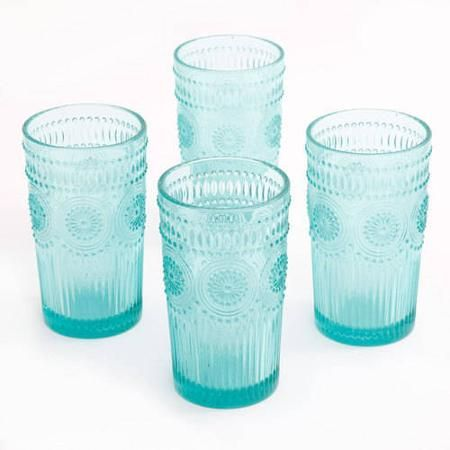 The Pioneer Woman Adeline 16-Ounce Emboss Glass Tumblers, Set of 4 - Walmart.com