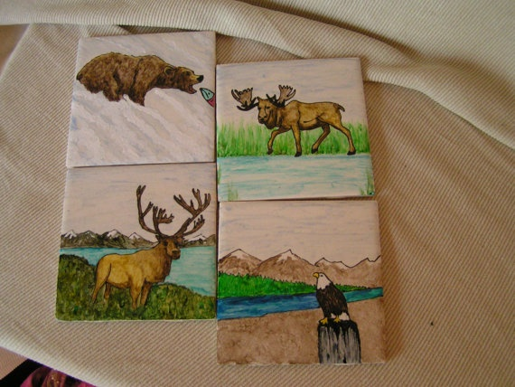 Alaska Wildlife Painted Tiles By Cherigueco On Etsy 40