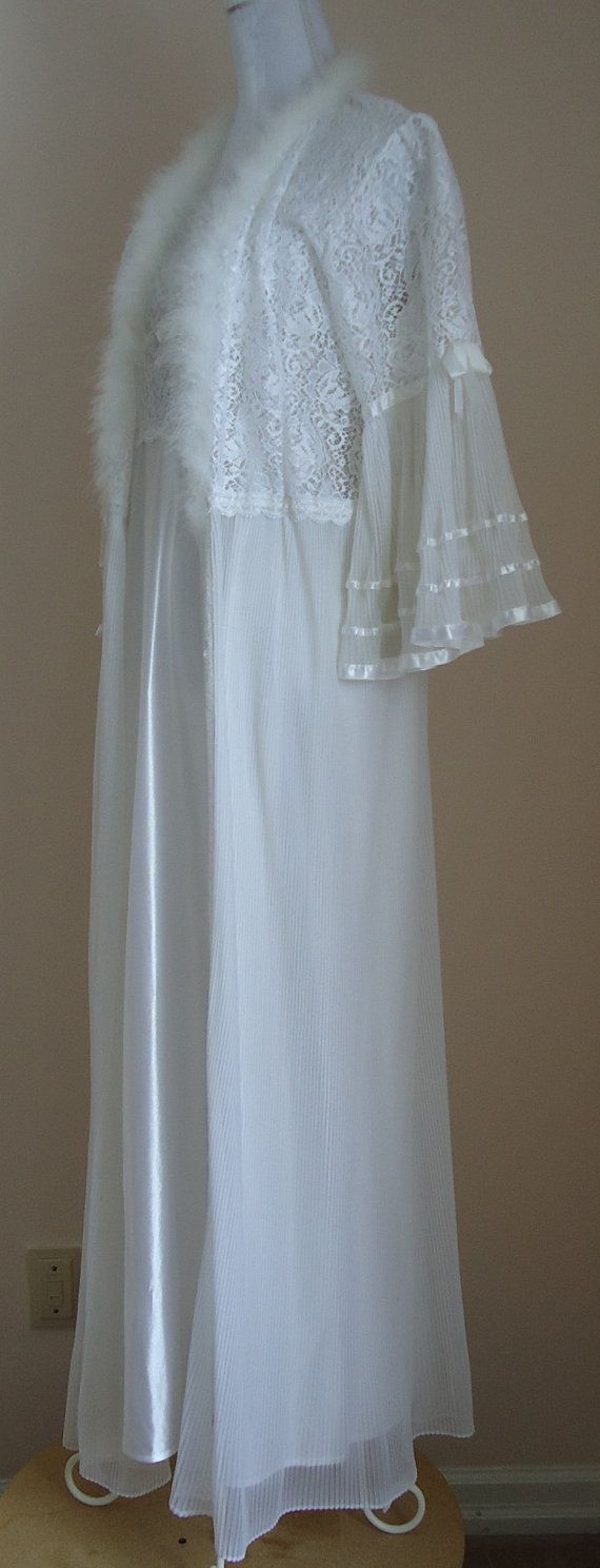 Vintage 1960s White Peignoir Set with Crystal by MadMakCloset, $175.00