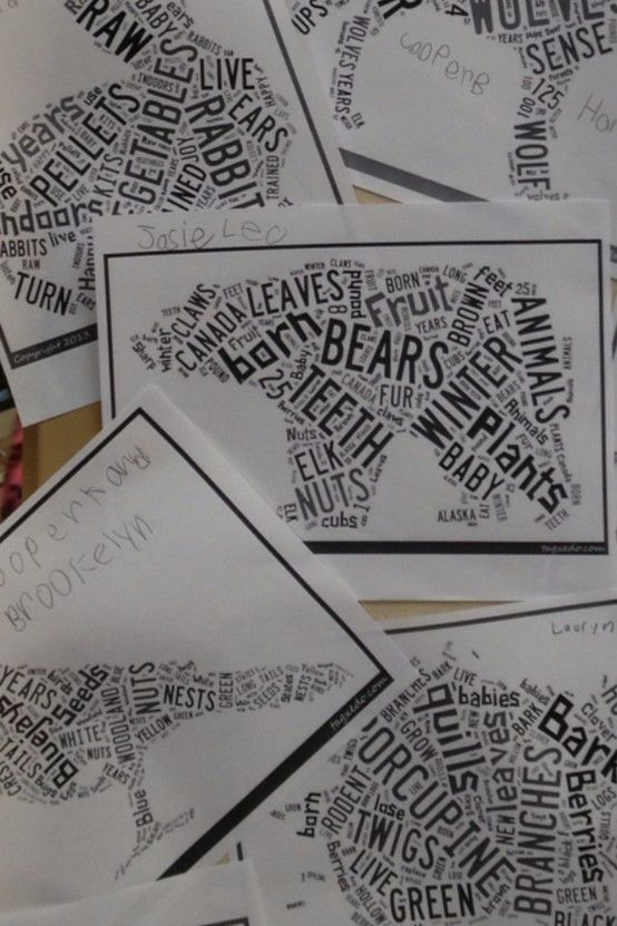 This is a close-up. This is the finished product of an assignment I did with first graders. They researched a winter animal using pebble go. They filled out a graphic organizer and then typed those words onto a word document. They then copied those words into Tagxedo.com. Tagxedo.com makes a word cloud into almost any shape.