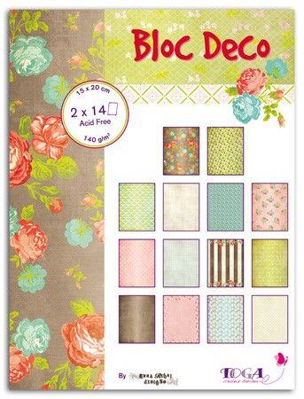 Bloc Déco Giverny - 28 feuilles de papiers 15x20