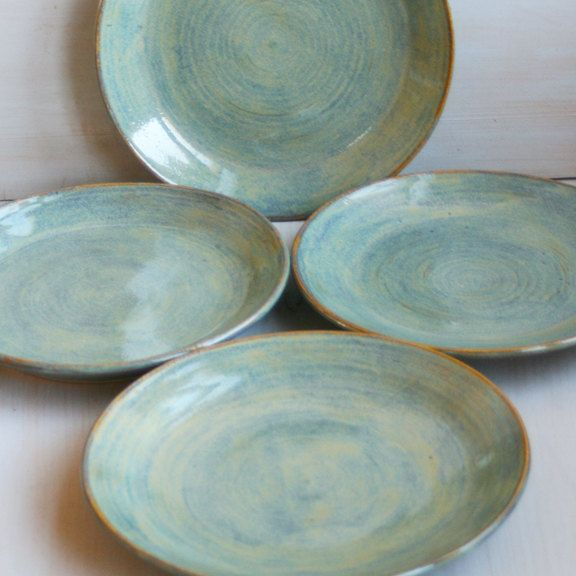 Ceramic Dinner Plates Rustic Green Plates Handmade Set of Four Rustic Stoneware Dishes Green Pottery Dinnerware. $132.00, via Etsy.  Darrin likes these.
