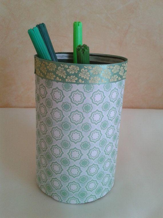 Simple green handmade pencil holder by Dancingunderarainbow