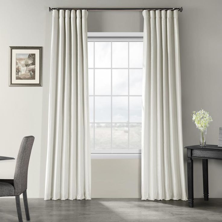 Exclusive Fabrics & Furnishings Mist Grey Gray Vintage Textured Faux Dupioni Silk Light Filtering Curtain – 50 in. W x 108 in. L-PDCH-KBS21-108