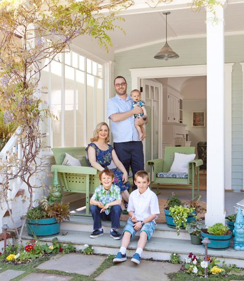 This California home's front porch is decked out with gliders from Grandin