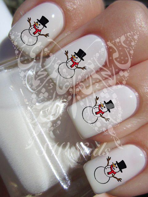 Christmas Xmas Snowman Christmas Nail Art Water Decals Nail Transfers Wraps