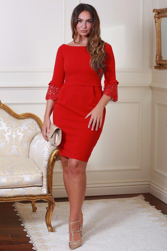 Uma Red Tulip Midi Dress with Lace Sleeves