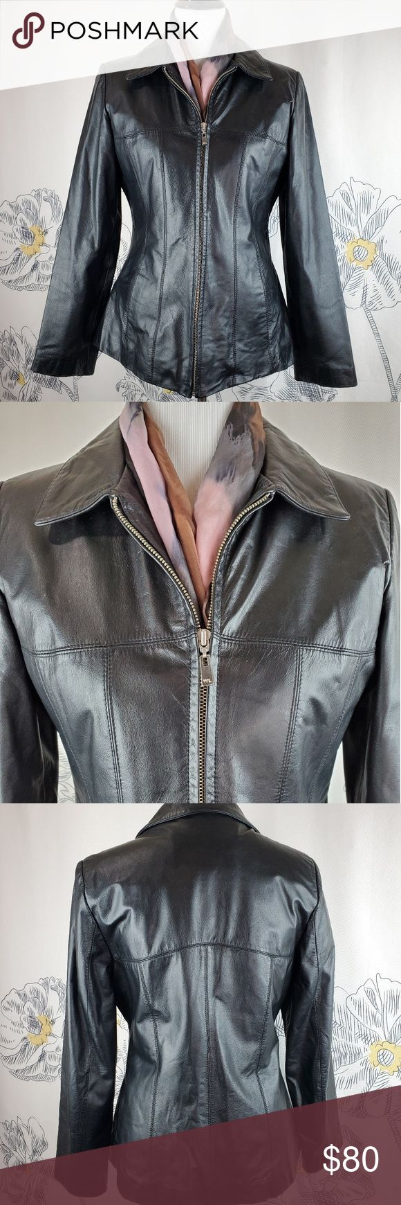 Wilson's Leather Jacket Size M Black leather with zip out