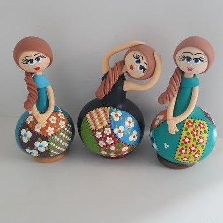 Trio de Cabaças - bonecas patchwork - Sonharteira