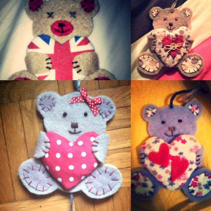 Teddy #felt #heart  E❤