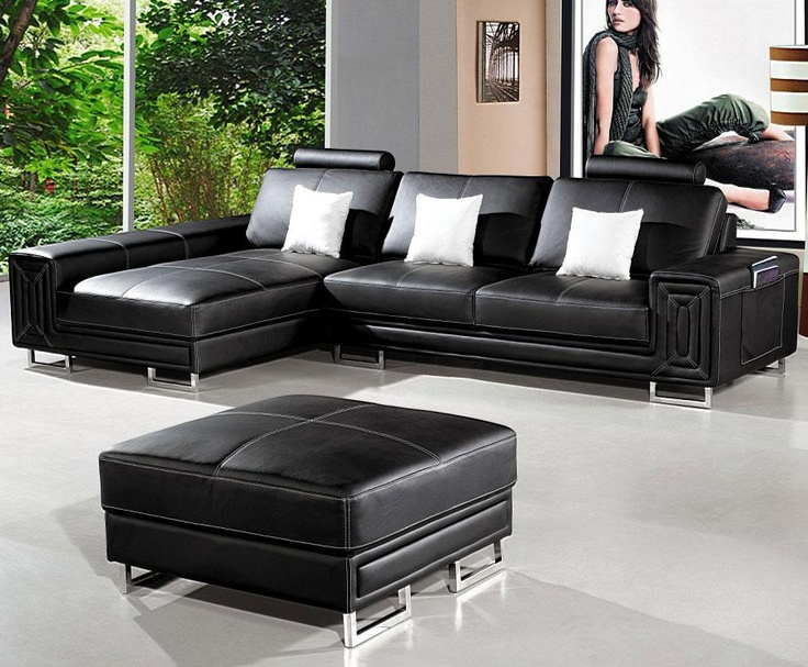 Compact black sectional with chaise